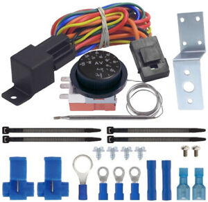 ADJUSTABLE THERMO-STAT CONTROL-LER ELECTRIC COOLING FAN RELAY WIRING SWITCH KIT