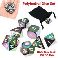 7Pcs Set Rainbow Metal Polyhedral Dice w Bag DND RPG MTG Role Playing Board  UK