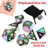 7Pcs Set Rainbow Metal Polyhedral Dice w Bag DND RPG MTG Role Playing Board  UK