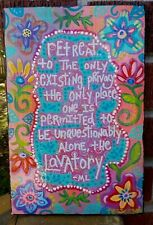 Folk ART ' RETREAT to The LAVATORY...' Hand-Painted WOOD Bathroom Sign