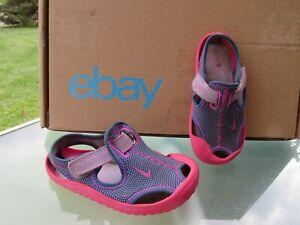 NIKE Pink Purple Print Adjustable Strap Water-Friendly Sandal Baby Girls size 6C
