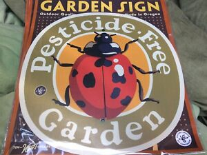PESTICIDE FREE GARDEN Home yard Sign Victory Pollinator Friendly Made in Oregon
