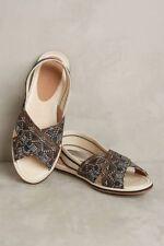 Anthropologie BETTYE 8 Braided Slingback Sandal AVA Shoes Black Gold Navy NIB
