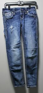 WOMEN'S ~ ROCK REVIVAL ~ SUNDEE ~ ANKLE SKINNY JEANS. DISTRESSED. SIZE 26. EUC!