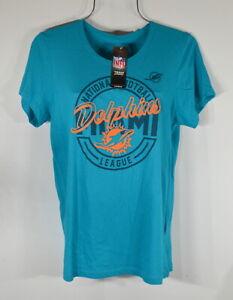 Majestic Woman's T-shirt 2XL Dolphins NFL Team Apparel Blue NWT