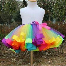 Girls Rainbow dance tutu skirt ballet ballerina costume multicolour Show outfit