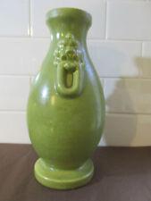 Vintage Art Deco Haeger Usa Green Vase Fu Dog Guard Lion Handles