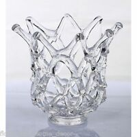 "New Large 11"" Hand Blown Glass Art Clear Web Bowl Vase Sculpture Decorative"