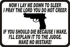 """Now I Lay Me Down To Sleep Gun Security Humor 14""""x10"""" Novelty Man Cave Sign"""