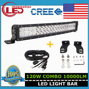 22inch 120W Curved LED Light Bar Spot Flood Combo Lamp Ford Bumper+Wiring Kit