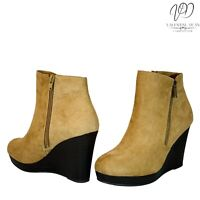 JustFab Jessy Women's Ankle Boots DK Taupe Suedette Wedge Platform Size 6UK