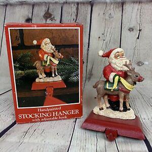 Vintage Potpourri Press Christmas Stocking Hanger Santa Claus Duet 1992 Holiday