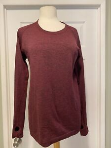 Lululemon Womens Size 12 Swiftly Tech Long Sleeve Running Top Burgundy GUC