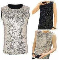 Men Shiny Sleeveless Tank Tops T-Shirts Slim Fitted Muscle Vest Clubwear Tee