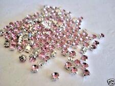 50 Pink Crystal Rhinestone Diamond Silver Stud Sewing/trim/jewel/bead/Sew On E2