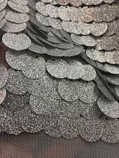 "Paillette 20mm Fashion Sequin Silver With Glitter  On Mesh 58""/60"" Sold By Yard"