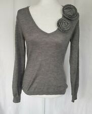 RED Valentino Gray V-Neck Sweater Medium Made In Italy
