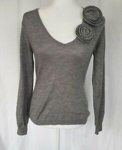 RED Valentino Gray V-Neck Sweater Medium Made In Italy