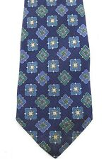 CHLOE Vintage Blue Square Print Silk Mens Tie