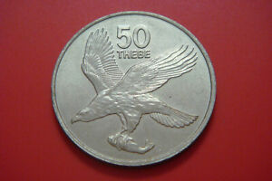 BOTSWANA 50 THEBE 1976 UNC Bird and fish coins