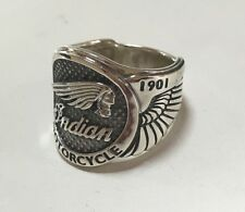 American Biker Indian Sterling Silver 925 Motorcycle Harley Ring All Sz US 8 15