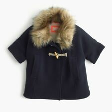 NWT NEW J Crew Crewcuts Girls' navy blue Sherpa-Lined Cape Jacket L E0469 $218