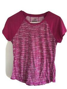 tek gear dry tek womens short sleeved activewear top size:S pink/white print