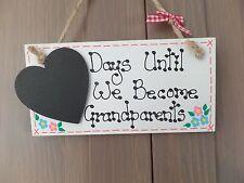 Cuenta atrás de embarazo Personalizado Baby Shower abuelos mamá Placa Letrero Regalo