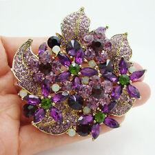Gorgeous Flower Cluster Floral Leaf Violet Rhinestone Crystal Brooch Pin Pendant