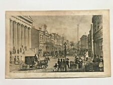 1800's Etching Print of Wall Street from Broad Street in New York