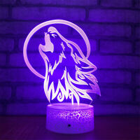 Wolf Call 3D Night Light 7 Color Change LED Desk Lamp Touch Room Decor