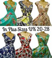 SARAH-P PLUS SIZE VINTAGE FLORAL DRESS 50'S SWING DRESS SIZE 20-28 NEW