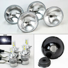 "FOUR 5.75"" 5 3/4 OE Round Glass Headlight Conversion w/ 36W LED H4 Bulbs Plymout"