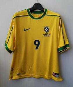 1998 Brazil Home S/S No.9 RONALDO 98 France WorldCup jersey shirt trikot