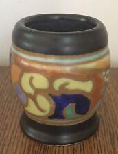 """Ola Huizen Gouda Miniature- 2 1/2"""" Vase - Matte Black, Yellow, Cobalt, & Orange"""