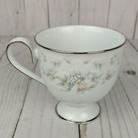 VTG Noritake Ireland 'Patience' Footed Tea Cup Coffee Mug Blue Flowers Scrolls