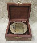 Antique Maritime Geological Compass Nautical Brass Surveyor Compass w/ Wood Box