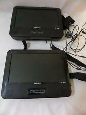 "LOT OF TWO Philips PET9422/37 Black 7"" Portable DVD Player Stereo Speaker JPEG"