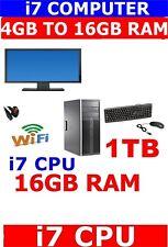 HP 8200 Intel Core i7 2nd Gen 4GB 8GB 16GB 1TB SSD 525GB DELL WIDESCREEN WINDOWS