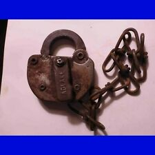 Antique Steel Railroad Lock - Adlake printed on the key hole cover - L&N RR  76