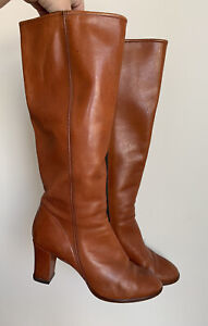 Vintage 70s 80s Sandler Size 7.5B Brown Knee High Boots Made in Australia