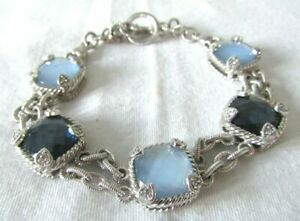 "Judith Ripka Sterling Silver Hematite & MOP Blue Quartz Doublet Bracelet 8 1/4"""