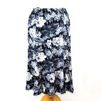 FAIR LADY Floral Rose Print Pleat Midi Skirt 14 Petite Black Grey Classic Casual