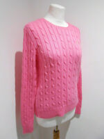 Ralph Lauren pink cotton crew neck cable knit jumper M VGC casual cosy Julianna