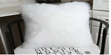 "1pcs Faux sheepskin Fur Rectangle White Pillowcase Cushion 12x20"" fabric back US"