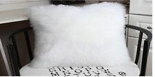 "1pcs Faux sheepskin Fur Rectangle White Pillowcase Cushion 12x20"" fabric back"