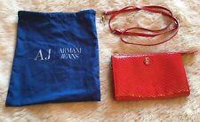 Brand New Bright Red Armani Jeans Handbag Clutch or Cross Body Strap + Dust Bag