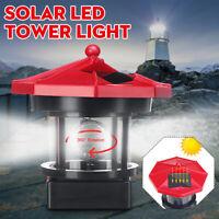 LED Solar Powered Lighthouse Statue Rotating Garden Yard Outdoor Lighting Decor