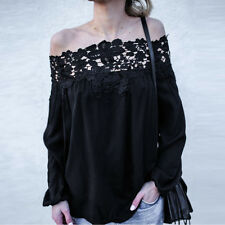 Women Off The Shoulder Long Sleeve Blouse Ladies Loose Casual Lace Shirt Tops