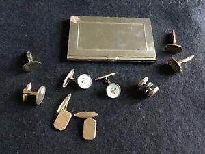 Job Lot Bundle Of Mens Vintage Cufflinks & A Card Case.